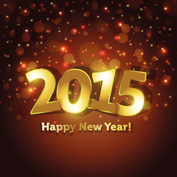 Golden 2015 Happy New Year Greeting Card With Sparking Spot Ligh